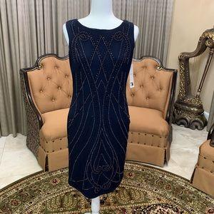 Leslie Fay Navy Beaded Dress Size L